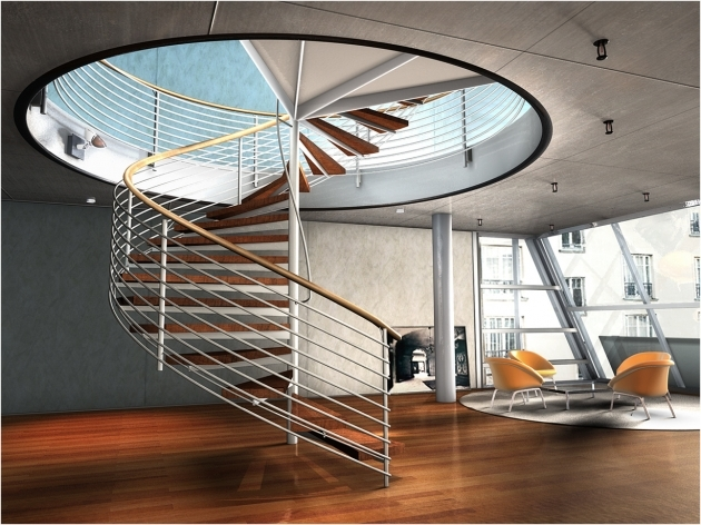 Circular Staircase Design Beautiful Modern Design Gold Hand Railing Wooden Steps And Aluminum Image 80