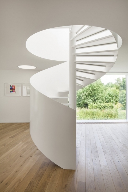 Circular Staircase Design Contemporary House Architecture With Huge Window Pic 60