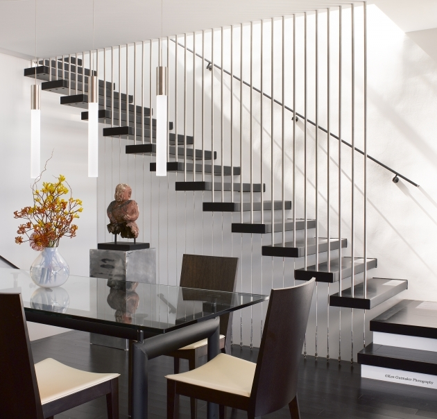 Floating Stair Treads Beautiful Design Ideas With Black Color Treads And Metal Balusters Pics 37
