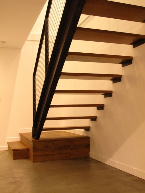 Floating Stair Treads Mid Century Home Hardwood Flooring Photo 99