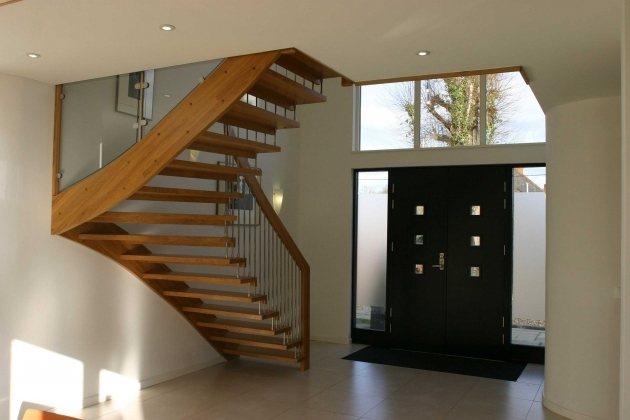 Floating Stair Treads With Brown Color Timber Treads Also Glass Balusters Photo 50