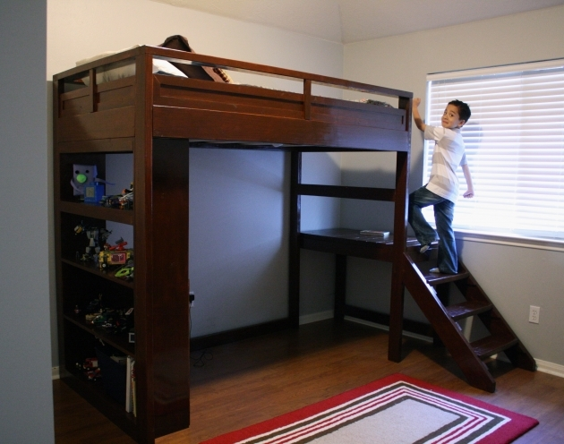 Loft Bed With Stairs Bedroom Furniture Design Dark Brown Wooden Bunk Bed Built In Toys Shelf Storage Pic 00