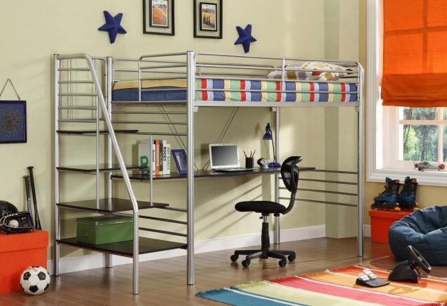 Loft Bed With Stairs Chrome Polished Metal Loft Bed With Long Black Acrylic Desk Picture 08