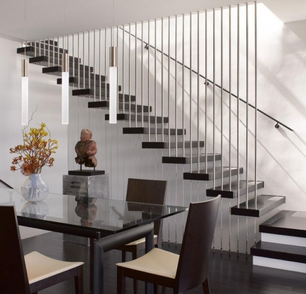 Modern Stair Railings Ultra Dining Room With Floating Staircase Also Vertical Metal Railings  Photo 79