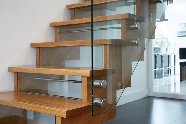 Oak Staircase Ideas Contemporary Oak Staircase With Glass Risers And Handrail Photo 82