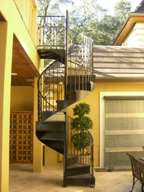 Outdoor Spiral Staircases Combine With Yellow Wall Design Pic 12