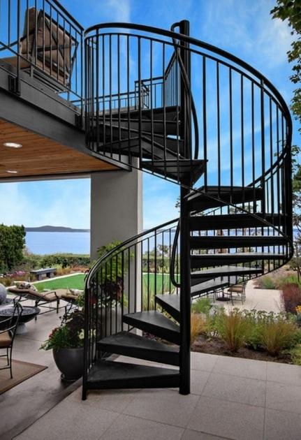 Outdoor Spiral Staircases Design House Exterior Picture 72