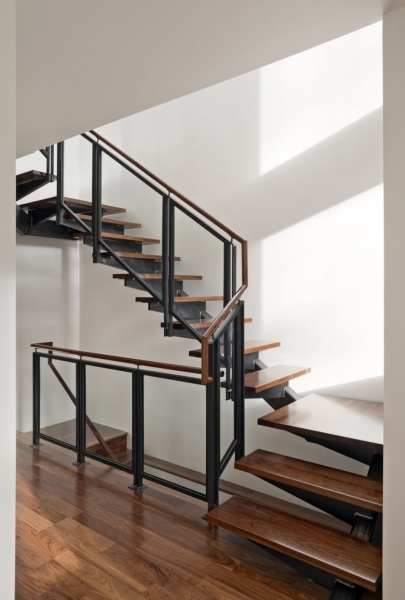 Space Saving Stairs Interior House Decoration With Half Turn With Brown Solid Wood Handrail Photo 27