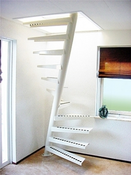 Space Saving Stairs Metal Spiral Staircase Design Ideas With Steps Mounted On Solid Base Pic 29