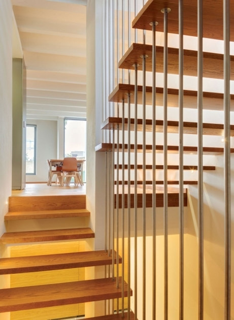 Staircases Designs With Railing Contemporary Staircase With Steel Railing Solid Wood Material Tread Photo 91