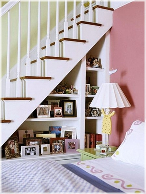Under Stairs Storage Ideas Solution Design With Figure Rack On Wood Floor And Pink Wallpaper Panels Images 39