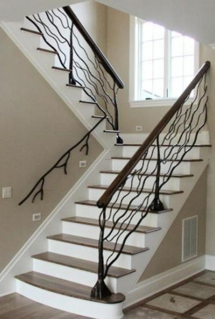Metal Stair Railings Modern Staircase Design Wrought Iron Unique Baluster Metal Handrails Pic 92