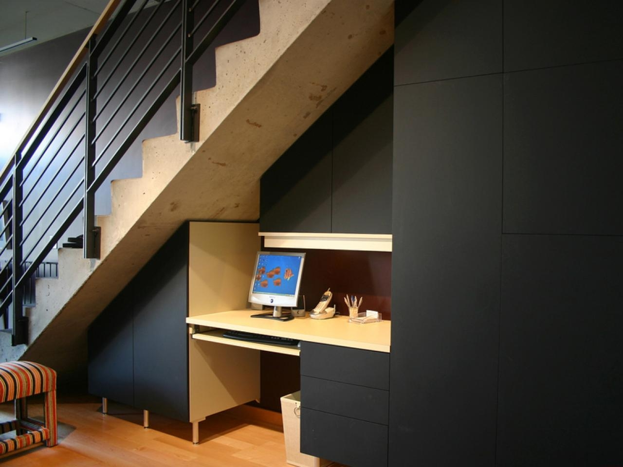 Modern Under Staircase Design Cerebral California Closets Under Stair Storage Image 10