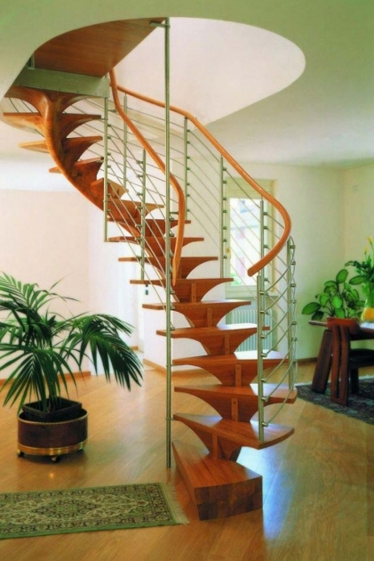 Spiral Staircase Design Home Decorating Ideas Featuring Wooden Spiral Staircase With Orange Finish Metal Handrail  Pictures 19