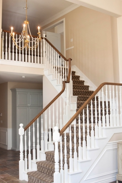 White Staircase Railing After Painted White Stairs And Banister Legs Darker Stained Pics 26