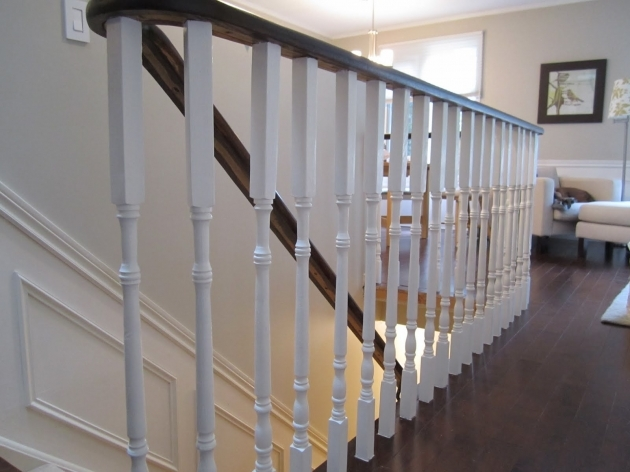 White Staircase Railing Remodelaholic Updating An Oak Stair Or Handrail To White And Walnut Pictures 39