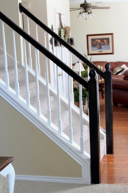 White Staircase Railing Simple White Staircase With White Railing Banister Also Black Wooden Handrail Image 12