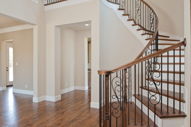 Curved Staircase Railing Plain Cream Wall Paint Color Background Combined With Decorative Corner Photo 88