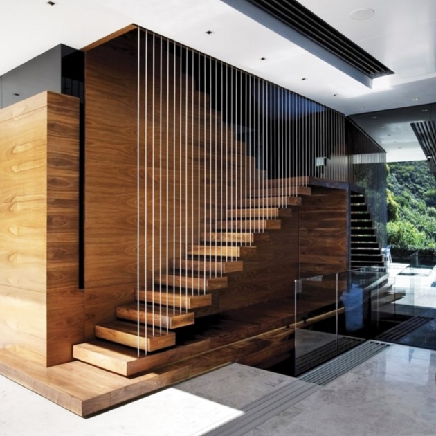 Floating Stair Kits Design Ideas With Brown Wooden Treads And Metal Baluster Image 41