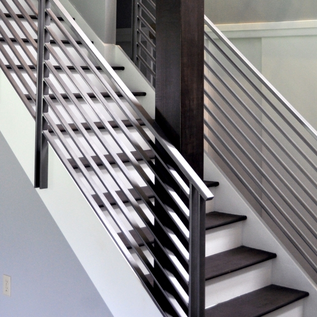 Modern Metal Stair Railings Elegant Iron Studios Custom Ornamental Metalwork Ebony Chrome Horizontal Rail Photo 31