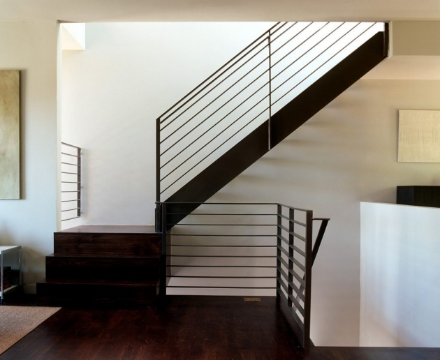 Modern Metal Stair Railings With Wood Staircase And Wood Flooring Pic 55