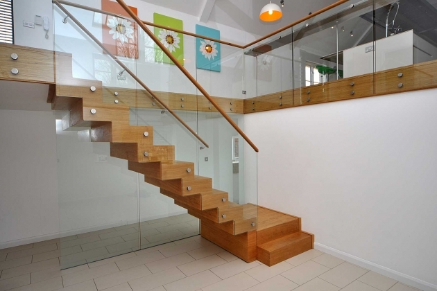 Oak Staircases With Glass Panels Hardwood Brown Veneer Floating Stairs With Glass Balustrade System Images 14
