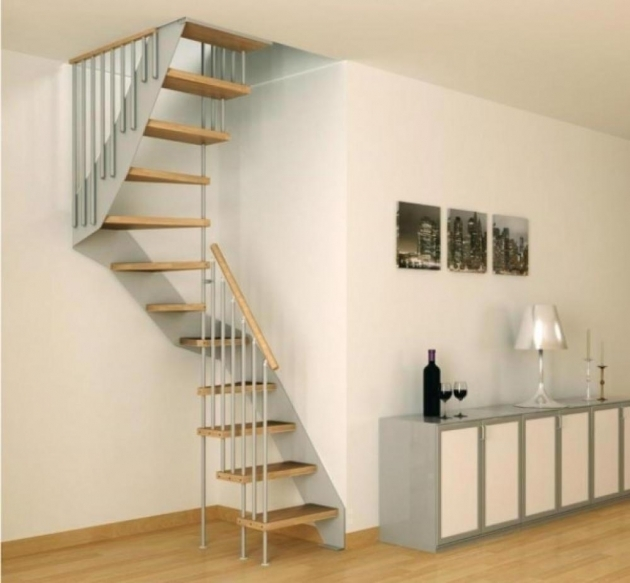 Simple Staircase Design Ideas Spiral Stairs For Small Space In Apartment Design With White Gray Vanity Set Pic 95