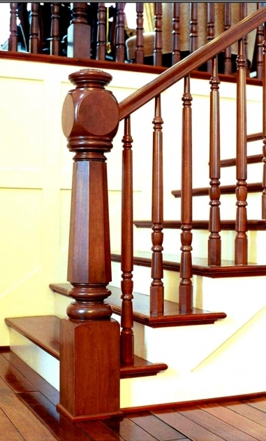 Wooden Staircase Railing Interior Stair Decoration Using Solid Cherry Wood Handrail Pic 37