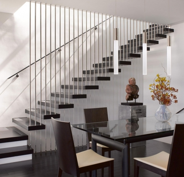 Contemporary Stairs Railing Design Alternative In Chrome Accent And Semi Float Black Painted Wooden Steps Image 84