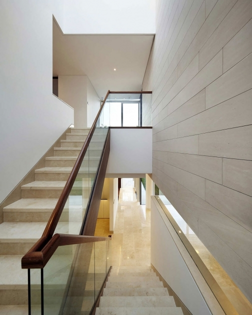 Contemporary Stairs Railing Half Turn Staircase With Glass Railing And Wooden Handrails Photos 45