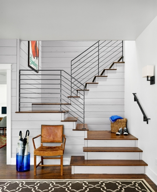 Contemporary Stairs Railing Hall With Wall Sconce Photo 68