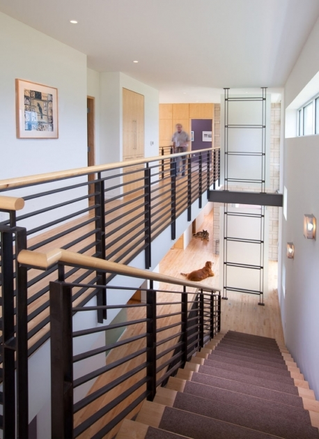 Contemporary Stairs Railing Modern Black Metal Stair Railing With Wooden Banister And Runner Rug Pictures 58