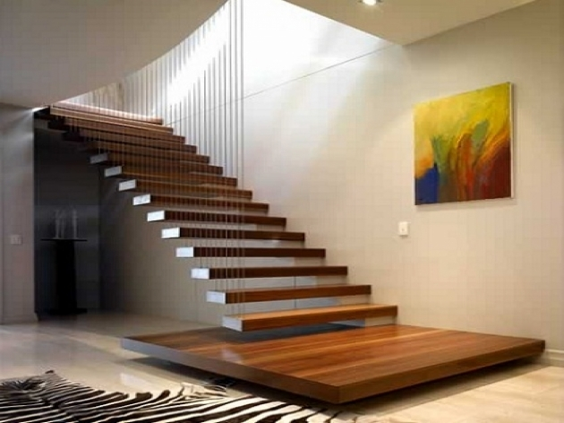 floating Staircase Brackets Immaculate Wooden Floating Staircase Without Handrail Only Wire For Hanging Photo 06