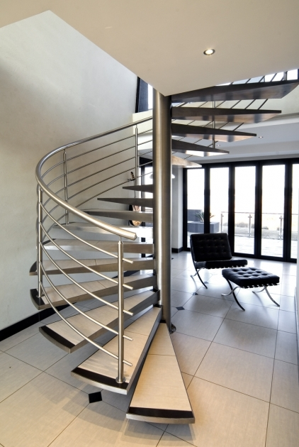 Floating Staircase Kit Decoration Using Spiral Stainless Steel Image 54