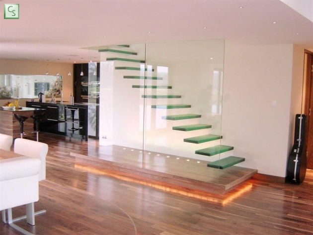 Floating Staircase Kit Design With Floating Glass Steps Combine With Glass Wall Divider Photo 34