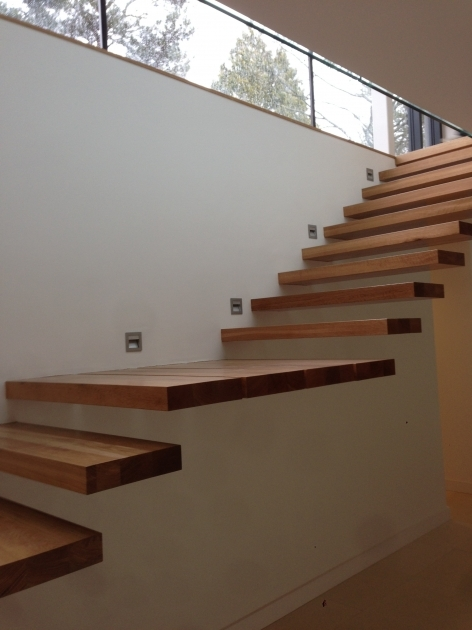 Floating Staircase Kit Teak Wood Floating Stairs Attach On Wall Without Handle Rails Pics 75