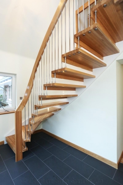 floating Stairs Brackets Interior Stair Decoration Using Solid Wood Floating Staircase Kit Ideas Including Solid Light Oak Wood Handrail Photos 46