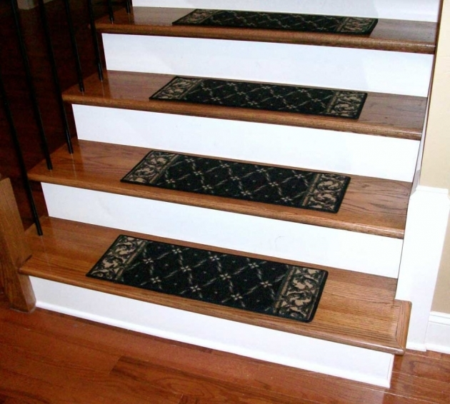 Hardwood Stair Treads Design Idea With Red Oak Combine With White Riser Also Black Mats Photo 27
