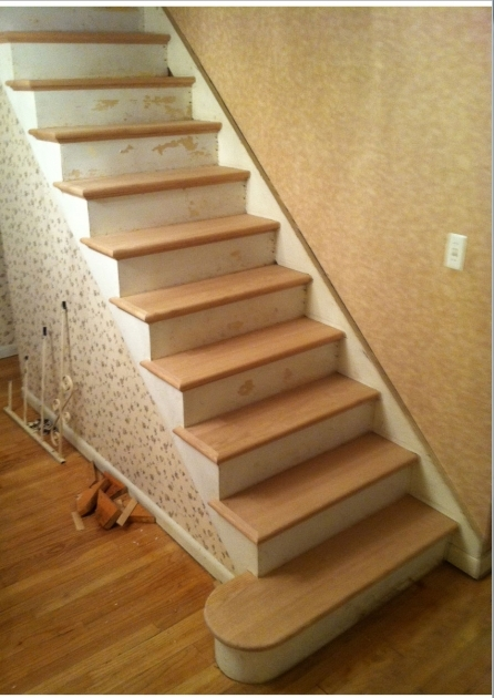 Hardwood Stair Treads Design Without Handrail Designed Images 97