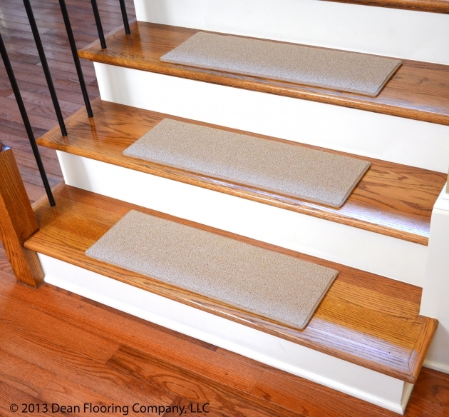 Hardwood Stairs Slippery White Nonslip Stair Treads On Wooden Stepping Stair Matched With Black Metal Stair Railing Photos 04