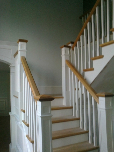 Oak Staircase White Spindles Handrails For Stairs Combained With White Color Ideas Images 18