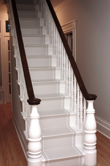 Oak Staircase White Spindles Stair Railing Painted Banister Pic 51