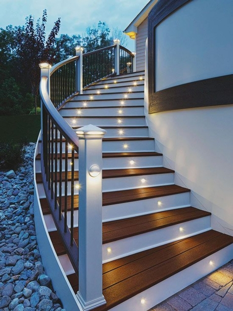 Outdoor Stairs Lighting Attractive Step Lighting Ideas For Outdoor Spaces Images 82