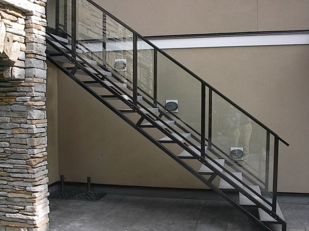 Staircase Steel Railing Designs With Glass And Concrete Stairs Photo 37