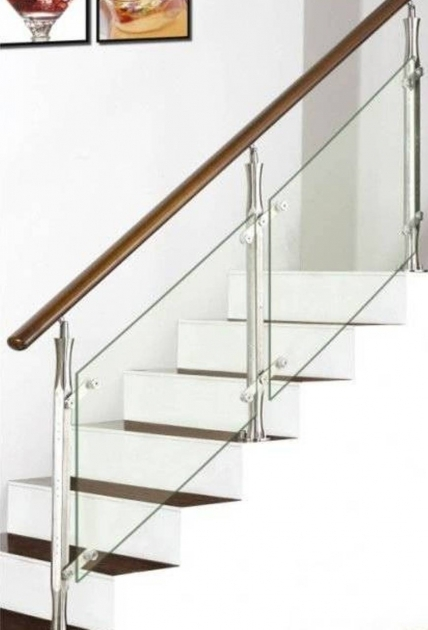 Staircase Steel Railing Designs With Glass And Wooden Handhold Picture 93