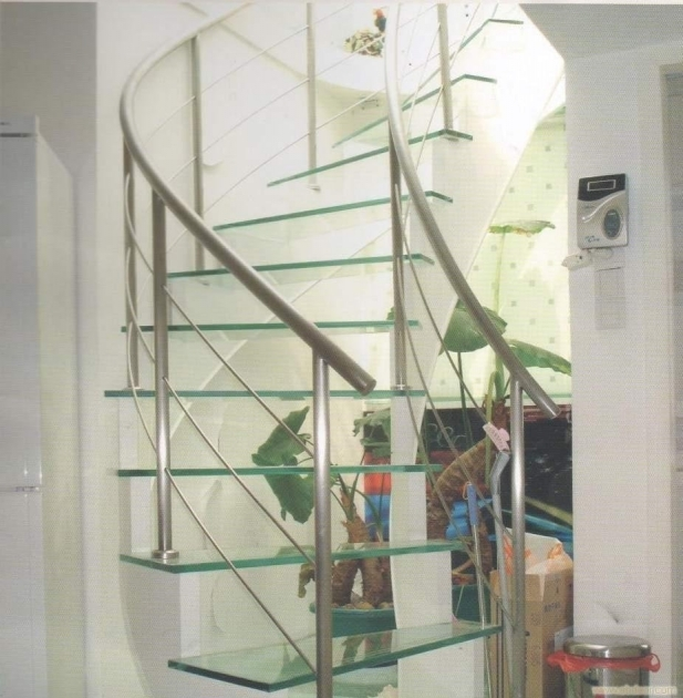 Staircase Steel Railing Designs With Glass Glass Steps And Handrails Spiral Ideas Picture 74