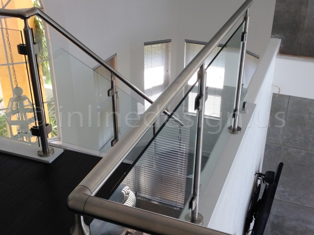 Staircase Steel Railing Designs With Glass Living Space Photo 44