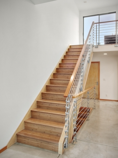 Staircase Steel Railing Designs With Glass With Wonderful Brown Lacquered Knotty Pine Wood Straight Staircase With Wooden Handrail And Metal Balustrade Photo 93