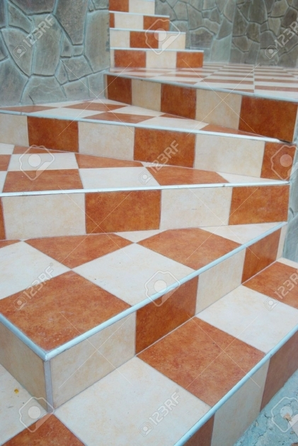 Tiling Stairs With Ceramic Tiles Abstract Design Images 13