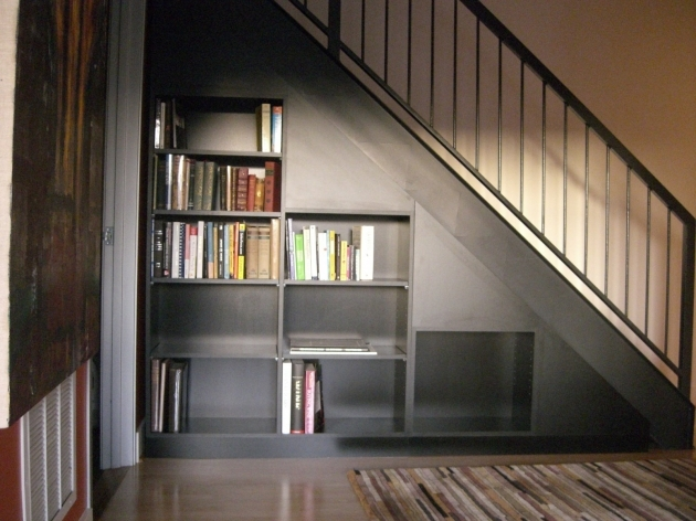 Under The Stairs Storage Ideas Simple With Modern Bookshelf Design And Black Wooden Color Under Basement Staircase Pics 80